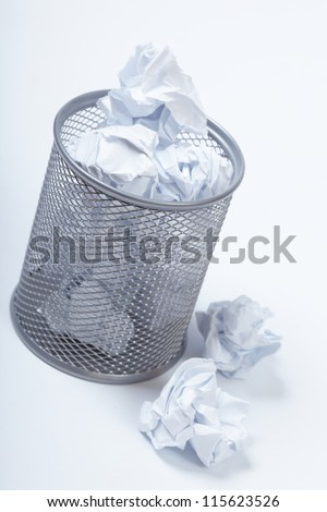 paper and garbage bin