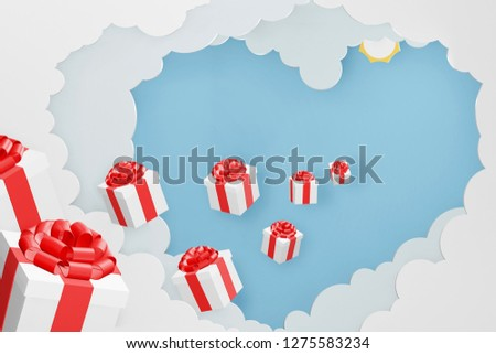 Paper art style of Gift box break thru from Heart shaped cloud and blue sky background, Romantic, sweet, cute, Perfect Valentine's Day Cards for the loved ones in your life, 3D rendering design.