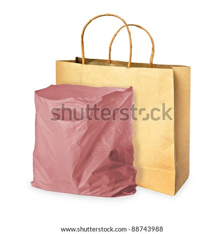 paper bag and plastic bag on white