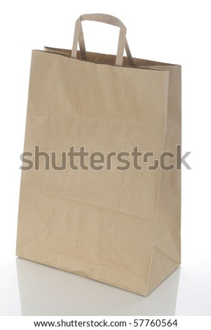 Paper bag for products on a white background