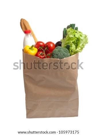 Paper bag full of food