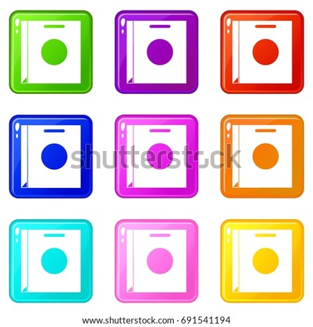 Paper bag icons of 9 color set isolated  illustration