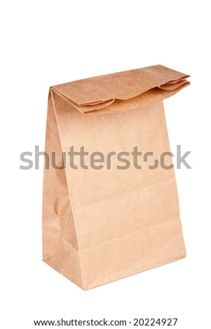 Paper bag (lunch bag) isolated on white background