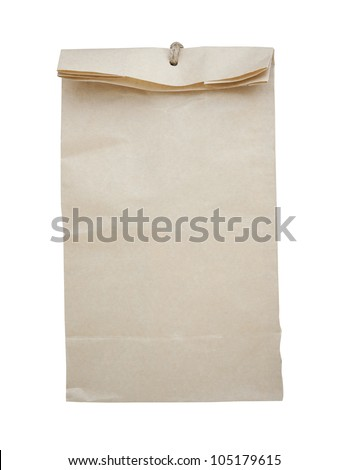 paper bag of tea with. Isolated on white
