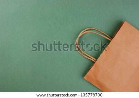 paper bag on a green background