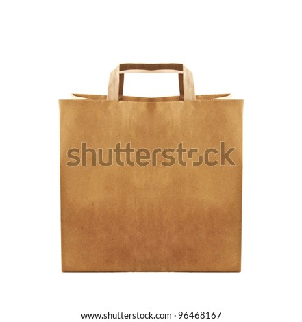 Paper bag on white background - stock photo