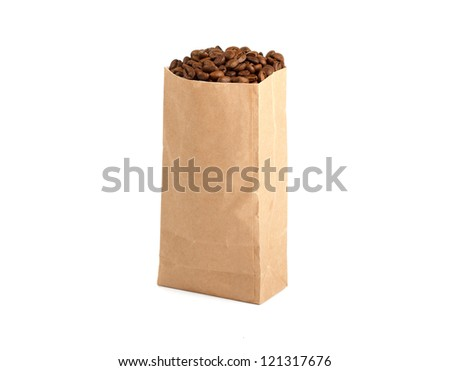 Paper Bag Package Of Coffee, filled with coffee beans. Isolated on white background. - stock photo