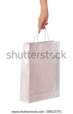 Paper bag with a rose from the supermarket