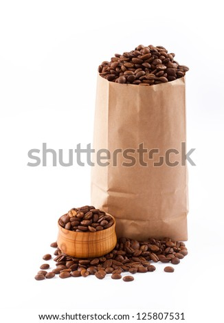 Paper bag with coffee beans.