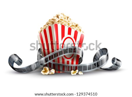 paper bag with popcorn and movie reel. Rasterized illustration. Vector version also available in my gallery.