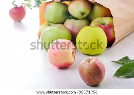 Paper bag with red green apples