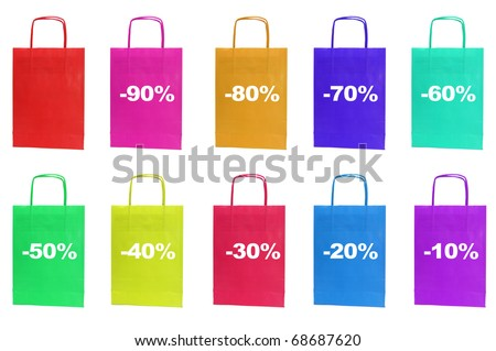 paper bag with the percent off written in it isolated on a white background