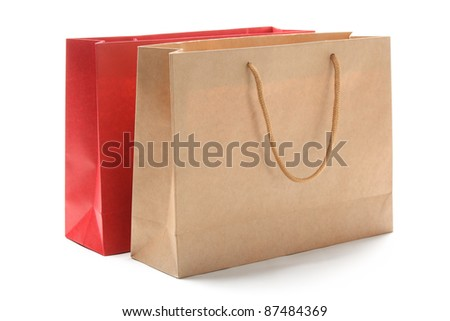 Paper bags isolated on white.