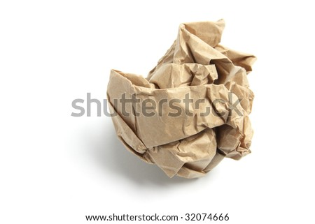Paper Ball on Isolated White Background - stock photo
