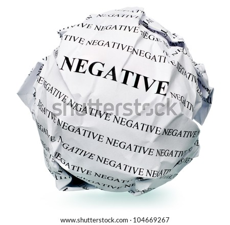 "paper ball with text "" negative "" and clipping path on a white background"