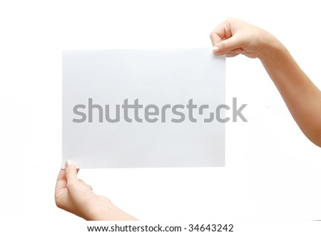 paper banner in hand isolated on white background