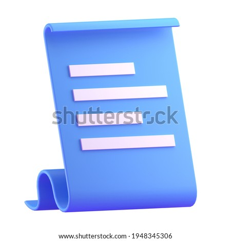 Paper bill of transaction receipt payment icon 3D render illustration
