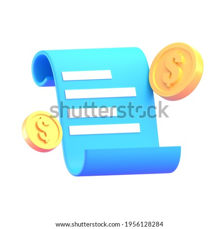 Paper bill of transaction receipt payment icon with coin 3D render illustration