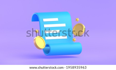 Paper bill of transaction receipt payment icons with coins 3D render illustration