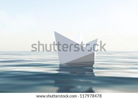 Paper boat, CG render/Paper boat/CG