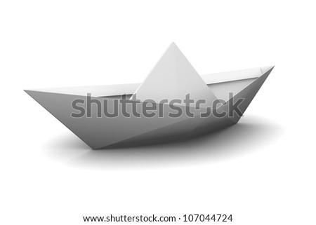 Paper Boat. Isolated on white background