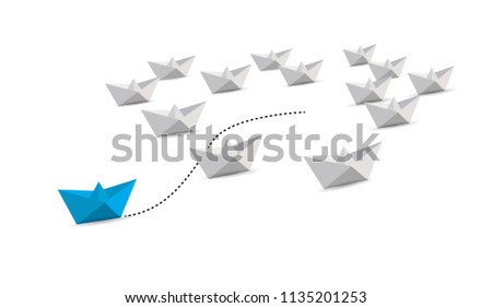 paper boat leader with initiative. leadership guiding concept. blue boat. illustration over a white background