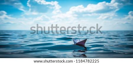 Paper Boat Panorama #1184782225