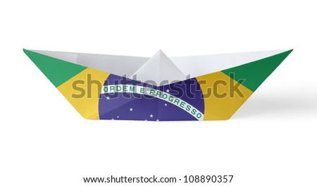 Paper Boat with Brazilian Flag