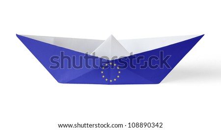 Paper Boat with European Flag