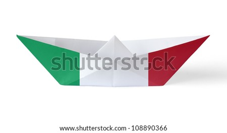 Paper Boat with Italian Flag
