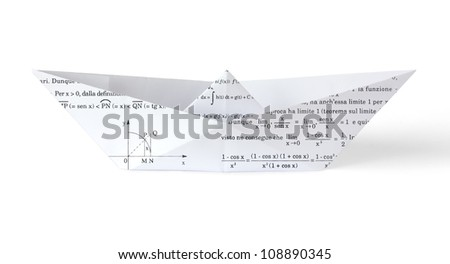 Paper Boat with Math Symbols and Formulas