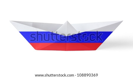 Paper Boat with Russian Flag