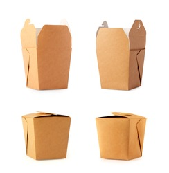 Paper box for food. Set of craft  packaging for fastfood. Cardboard container for lunch, chinese food, noodles, snacks  isolated on white background.