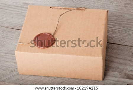paper box on a wooden background