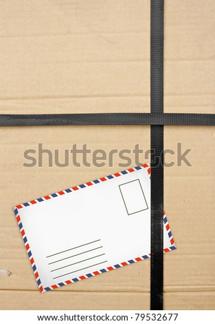 Paper box package with Old envelopes. closeup Useful as background for design-works
