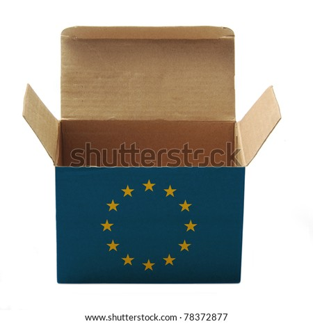 paper box with EU flag isolated on white background