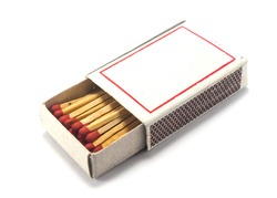 paper box with matches,isolated white background