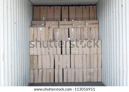paper boxes inside  of a trade container
