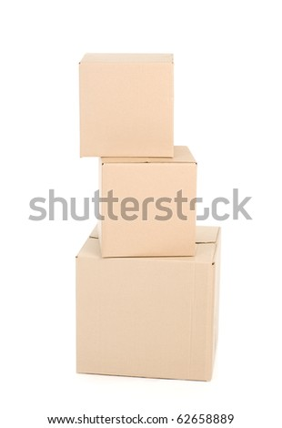 Paper boxes. Packaging. Isolated over white background