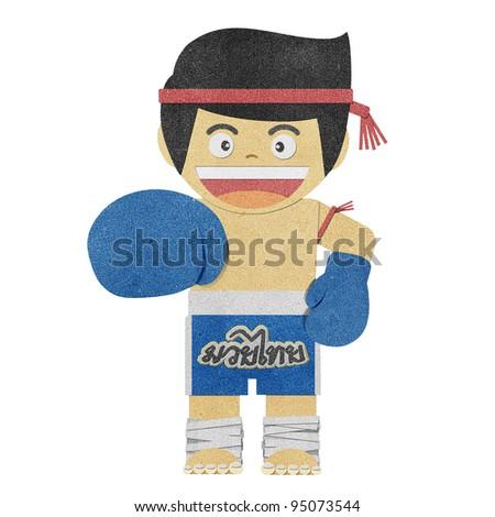 Paper boy ( muay thai kick Boxer ) recycled papercraft