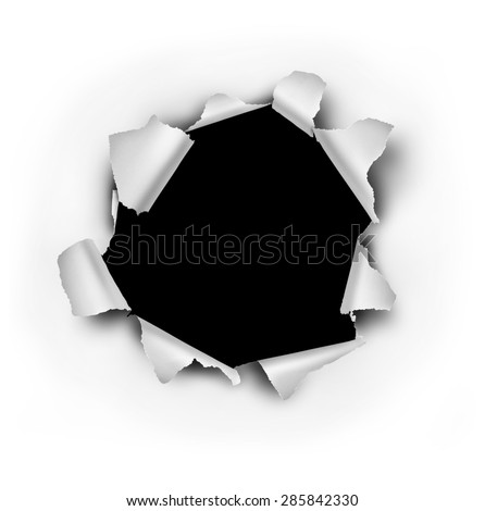Paper burst hole with ripped torn edges on a white sheet that has been punctured or punched open as a breakthrough blowout freedom and escape symbol.