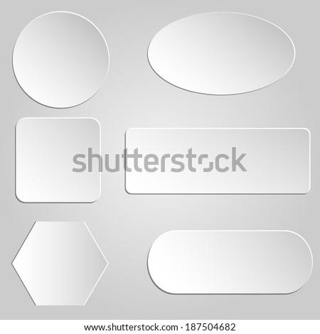 Paper buttons set. Raster illustration. #187504682