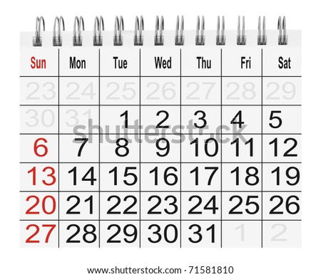 paper calendar  isolated on white