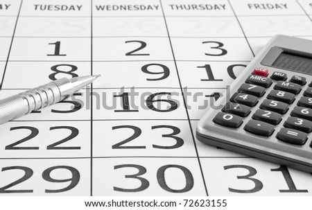 paper calendar on white backgrounds - stock photo