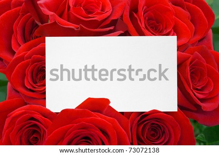 Paper card and roses bouquet - holiday background