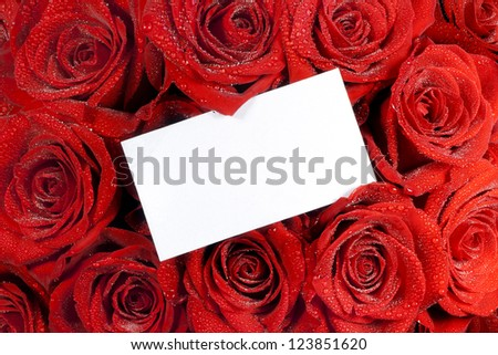 Paper card and roses bouquet Valentine