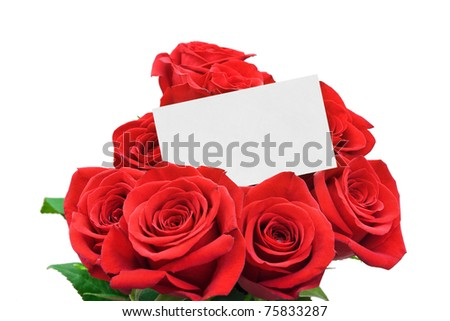 Paper card and roses isolated on white background