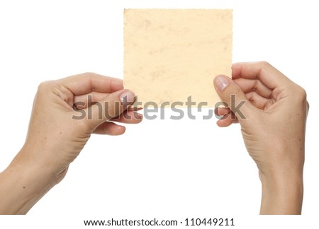 Paper card in hands - stock photo
