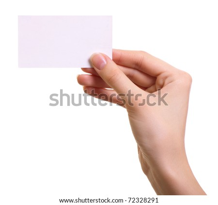 Paper card in woman hand isolated on white background