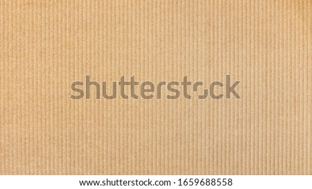 Paper cardboard background. Natural corrugated carton sheet. Kraft cardboard texture with vertical stripes. Seamless light brown paperboard for background or backdrop.